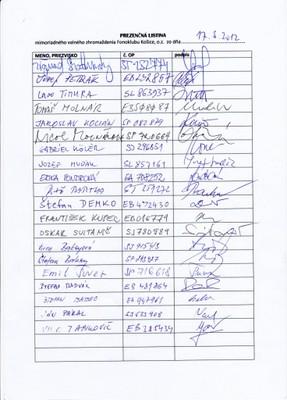 prezenčná listina zo 17.3.2012